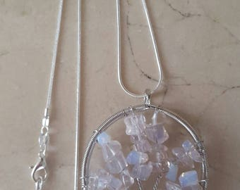 Necklace in silver and Moonstone
