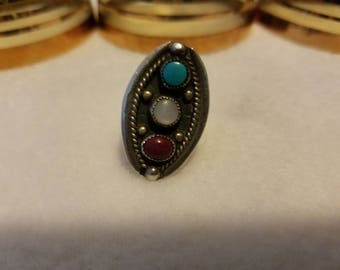 Sterling Silver Ring with Red Coral, Turqoise, and Moonstone