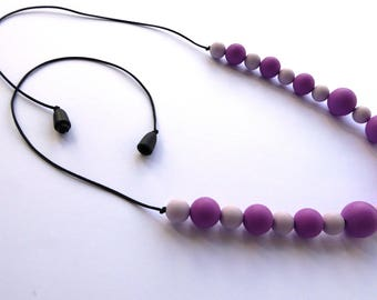 Lavander Purple Silicone beaded teething Nursing Chewelry necklaces UK for mums, dads and babies