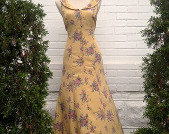Vintage Yellow Floral 1950s Style Dress
