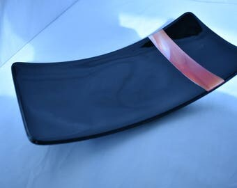 Black With Grenadine Red Curved Fused Glass Serving Tray - Display Piece - Serving Plate