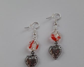 Strawberry button and charm earrings