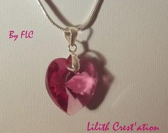 Raspberry heart Swarovski Crystal on silver chain 925