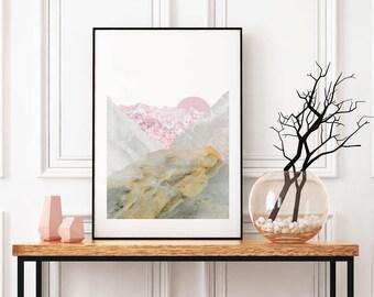 Sunset Mountain Landscape Art, Marble Stone Texture Paper Print, Nature Wall Art, Minimal Home Decor, Living Room Home Decor