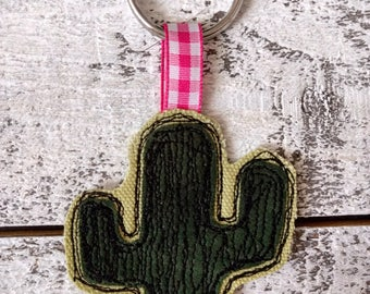Cactus Embroidered Fabric Keychain