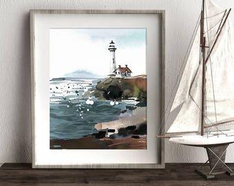 Lighthouse Art, Nautical Print, Ocean Art, Sea Print, Nursery Art, Home Decor, Wall Art, Watercolor Print, Printable Art, Blue Print
