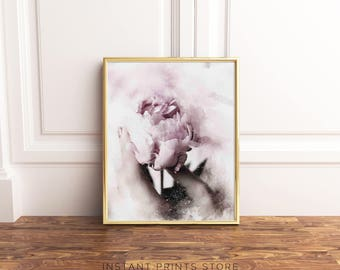 Pink Blush Purple Peony Print Art Printable Photography Poster Flower Bloom Petals Modern Home Wall Decor Downloadable Botanical Artwork