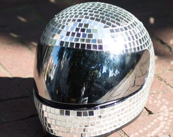 DISCO HELMET 2020 (Glamourous Disco Ball Mirror Tile Motorcycle Helmet for Burning Man, Festivals, Raves, and Everyday Dancing)
