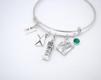 Envelope bracelet, journey bracelet, London bracelet, luggage bracelet, suitcase bracelet, london jewelry, enjoy the journey, big ben charm