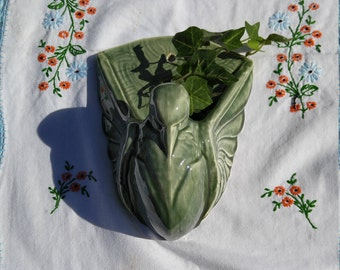 Vintage Art Deco Style Pouter Pigeon Bird Wall Pocket, Wall Planter, Wall Vase