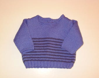 Little blue sailor sweater knitted by hand