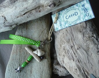 Door keys or jewelry bag made of driftwood and green shell unique handmade