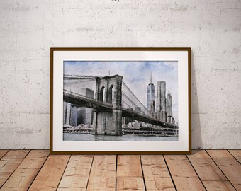 Brooklyn Bridge Print, New York Skyline, New York Sketch, Brooklyn Bridge Drawing, Brooklyn Bridge, New York City, Wall Art, Travel Print