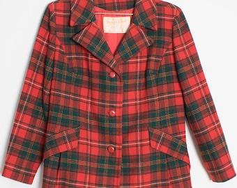Vintage 80's Red Pendleton Tartan Plaid Jacket