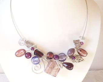 Glass necklace, shades of purple and Amethyst,