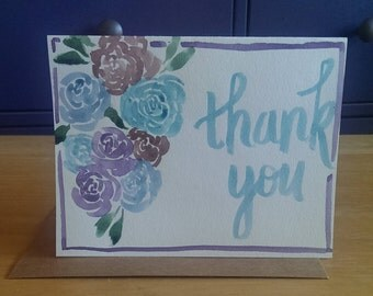 Watercolor Thank You Card with Roses