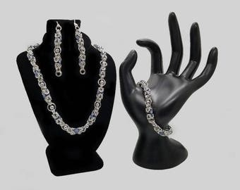 Silver and Gunmetal Floating Bead Byzantine Chainmaille Jewelry Set including a Necklace, Bracelet and Earrings
