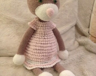 Teddy bear in crochet dress
