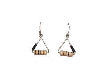 Resistance and recycled wire black triangle Earrings