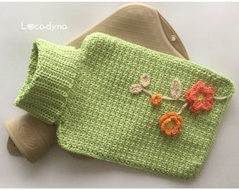 Cover heating Crochet floral hot/cold green gift for all bottle warm or cold-Hot and Cold Water Bottle Cover-Funny Winter