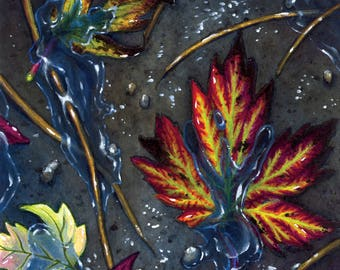 "Autumn Art Print- Fall Leaves, October, Nature, Fine Art, Watercolor - ""Hot Mess of Wet Leaves"""