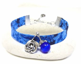 dark blue floral fabric bracelet