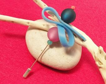 Blue rose brooch - Hat stick pin