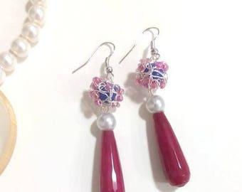 Red jade drop earrings/earrings
