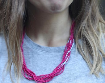 Hot Pink & Lavender Twist Beaded Necklace