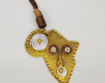 African Hand-Made Pendant. African Jewelry. Africa Shaped Pendant. African Brass pendant. Neck PieceArt. Made in Africa. Rustic African Art