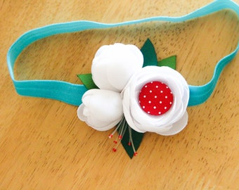 Fabric flowers baby girl headband
