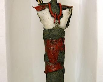 Warrior enameled Maasai Raku, red and white, Smokey statue in sawdust