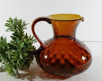Vintage Hand Blown Amber Glass Pitcher, Amber Pitcher, Decorative Glass Decor