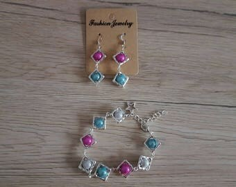 set bracelet and earrings pink/blue silver grey/turquoise beads