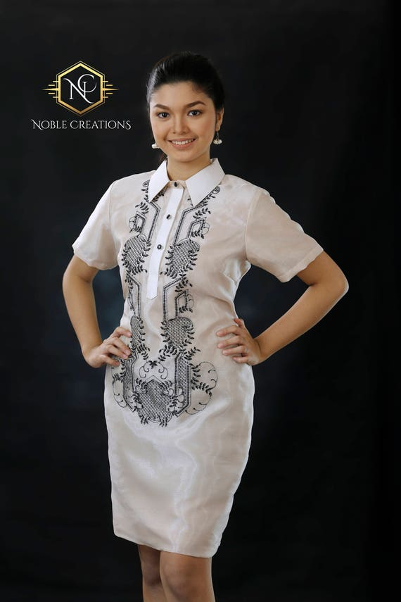 Modern Filipiniana Dress Silk Barong Tagalog Philippine