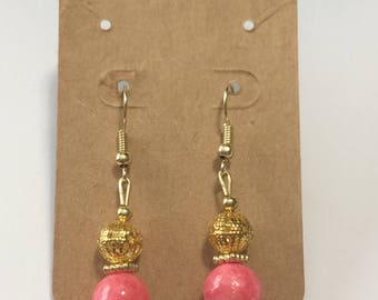 pink and gold filigree drop earrings