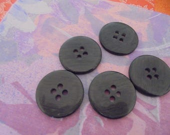 Set of 5 Vintage grey buttons 34 mm