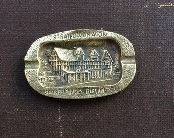 Vintage Brass Stratford on Avon Ashtray - 1960s