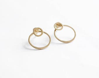 Hoop stud earrings - hoop earrings - gold hoops - delicate earrings - circle earrings - big gold hoop earrings, E081