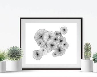 Black and White Pattern Art - Minimalist Art Print - Small Art - 8x10 Art Print - Nature Wall Art - Black and White Home Decor