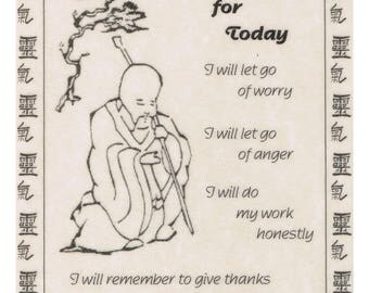 "Reiki Affirmation Card - ""Just for Today"""