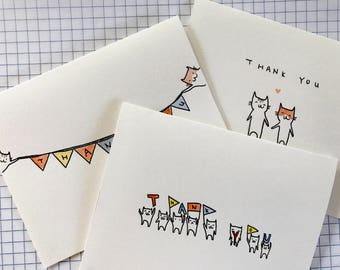 Watercolor Cat Thank You Cards [Set of 3]