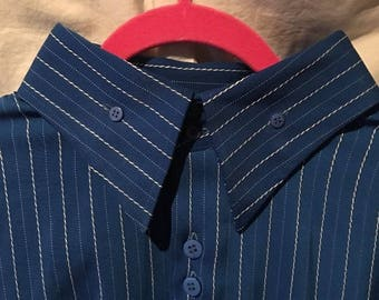 3XL Men's IL CANTO Italian Designer Blue & White Pinstriped Suit/Outfit