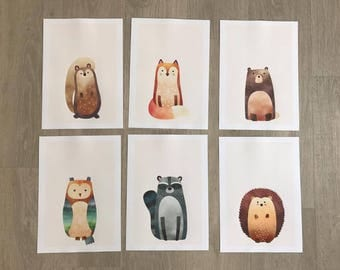 Set of 6 Woodland Animal Prints