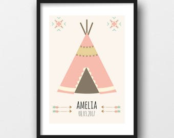 A4 Personliased Teepee Print