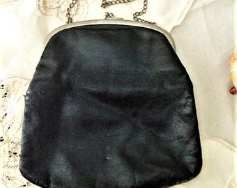 Black Kid Vintage Purse with Chain