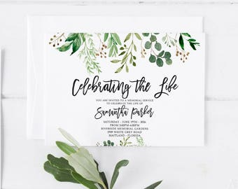Greenery Funeral Announcement Invitation Mourning Invitation Cards Memorial  Service In Loving Memory Funeral Editable Template  Invitation For Funeral