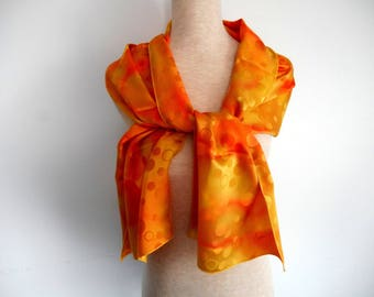 Hand painted yellow, orange scarf brocaded satin