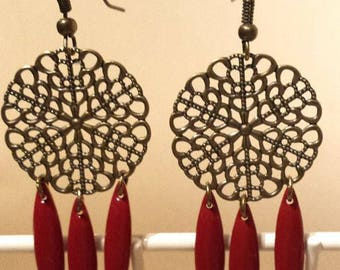 Earrings print rose bronze and brick red sequins