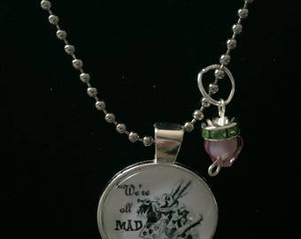 Handmade mad white rabbit necklace with charm